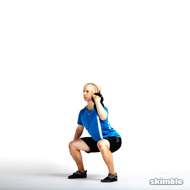 How to do: Left Kettlebell Squat Clean Thrusters - Step 5