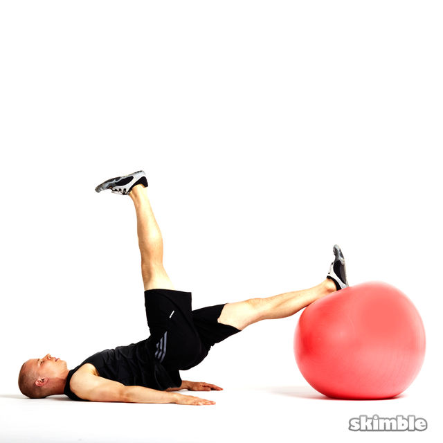 How to do: Bridge with Leg Lifts on Ball - Step 3