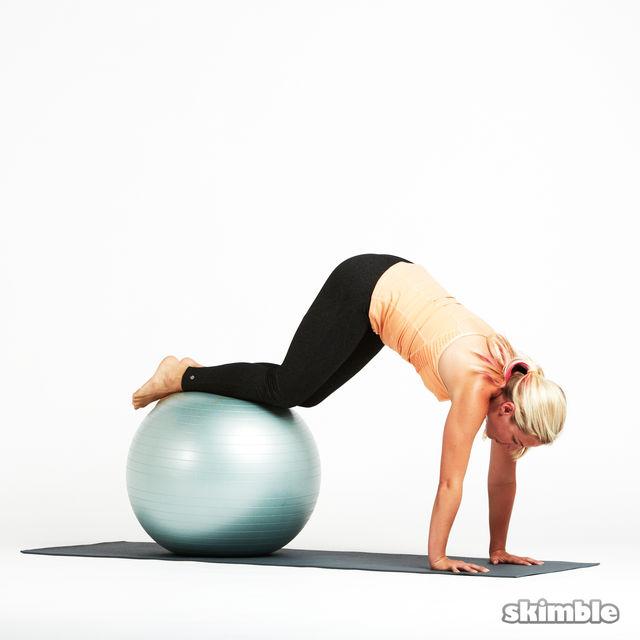 How to do: Stability Ball Knee Tucks - Step 1
