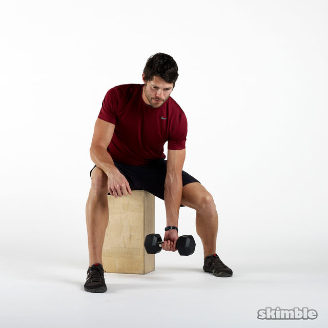 How to do: Left Concentrated Bicep Curls - Step 1