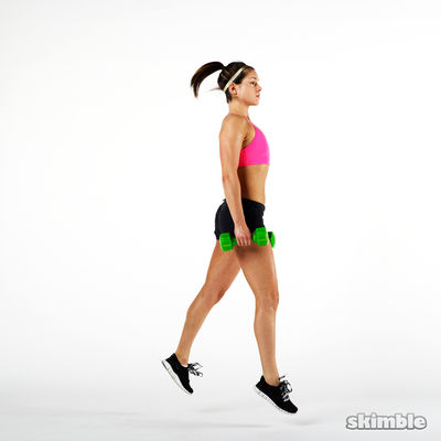 Dumbbell Right Split Jumps