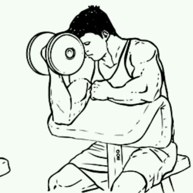 How to do: Single Arm Dumbbell Preacher Curl - Step 2