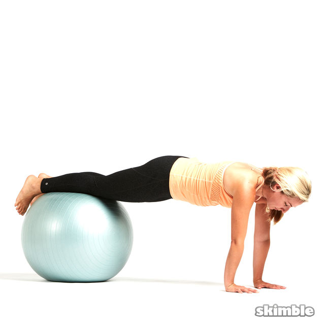 Stability Ball Side Lift: Ball Plank With Leg Lifts