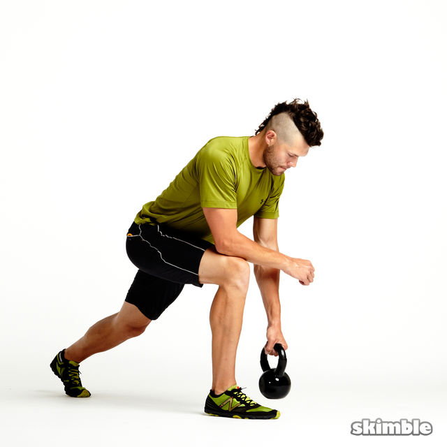 How to do: Right Lunge with Kettlebell Rows - Step 2