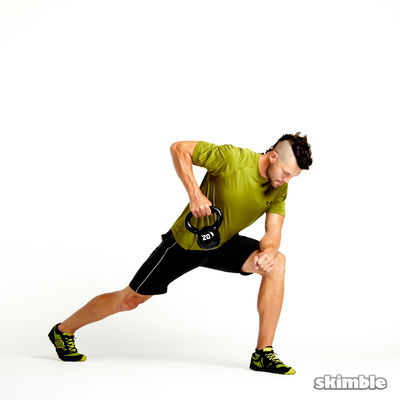 Left Lunge with Kettlebell Rows