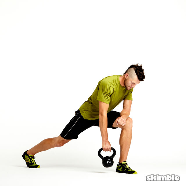 How to do: Left Lunge with Kettlebell Rows - Step 1