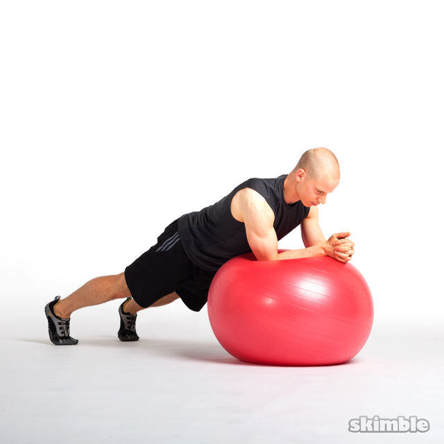 How to do: Side to Side Elbow Plank on Ball - Step 2