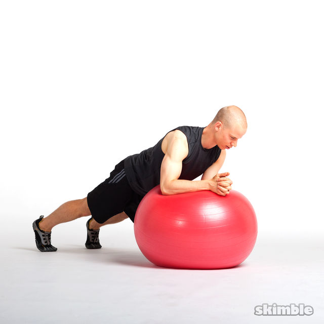 How to do: Side to Side Elbow Plank on Ball - Step 4