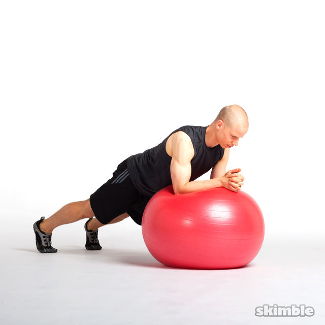 How to do: Side to Side Elbow Plank on Ball - Step 1