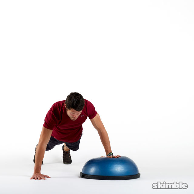 How to do: BOSU Left Offset Push-Ups - Step 1