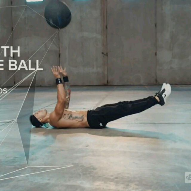 How to do: V-Sit Lying Down Ball Throw And Catch - Step 3