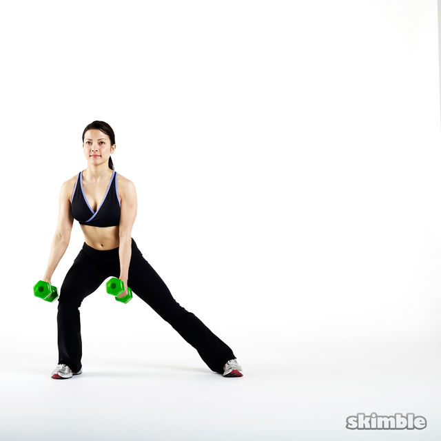 How to do: Dumbbell Side Lunges with Hammer Curls - Step 2