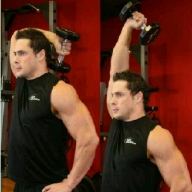 How to do: Standing One-Arm Dumbbell Triceps Extension - Step 1