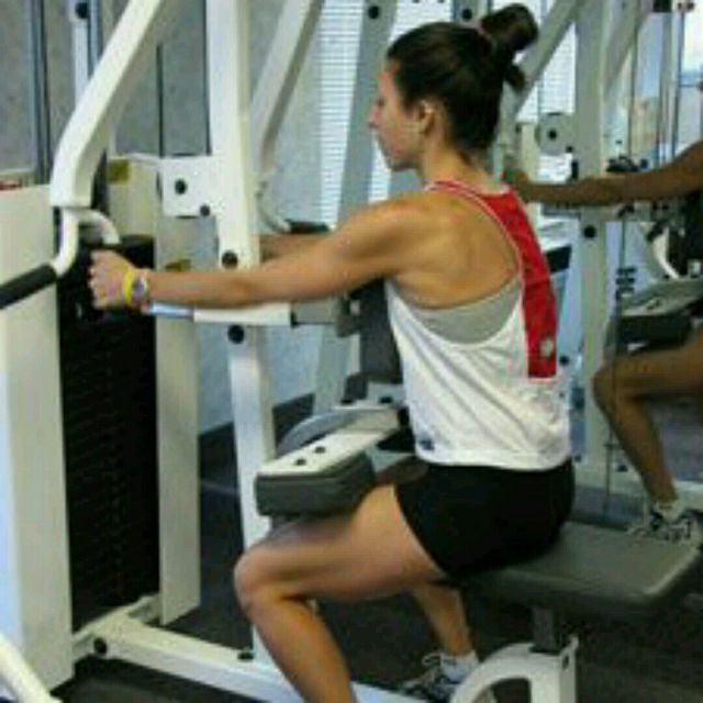 How to do: Seated Back Pull Upstairs Machine - Step 1