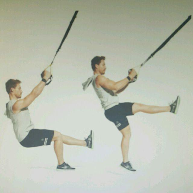 How to do: Suspension Trainer Single Leg Squat Hop - Step 1