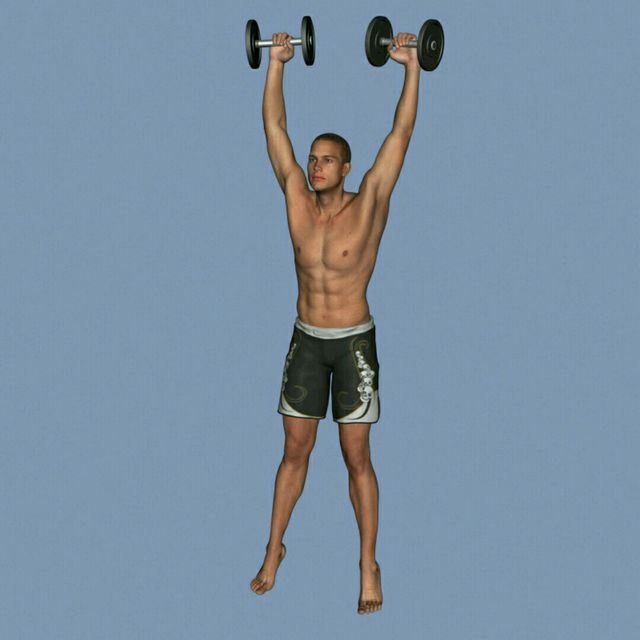 How to do: DB Clean To Press To Calf Raise - Step 6