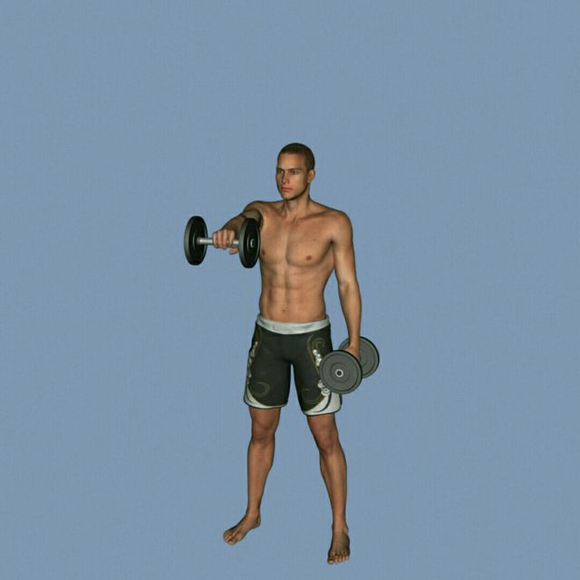 How to do: DB Alternating Front To Side Raise - Step 5