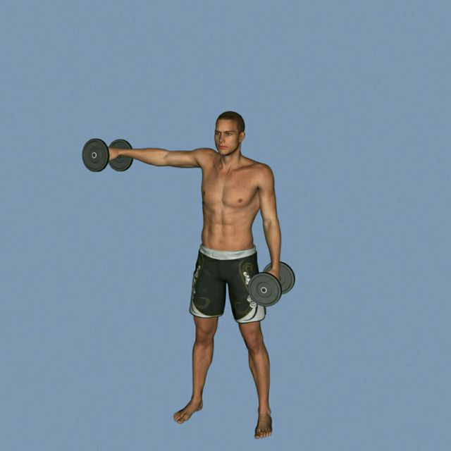 How to do: DB Alternating Front To Side Raise - Step 6