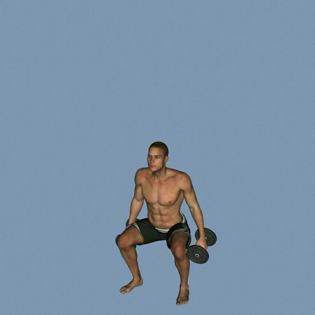 How to do: DB Squat To Bicep Curls - Step 2