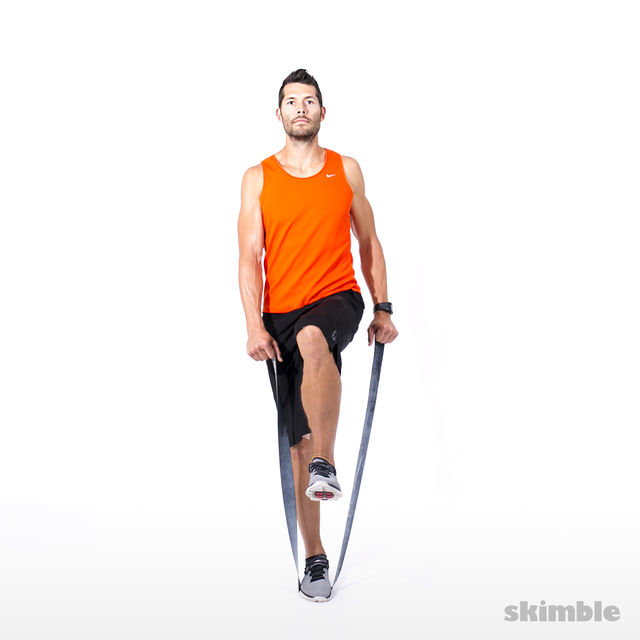 How to do: Right Leg Balance and L-lift with Band - Step 2