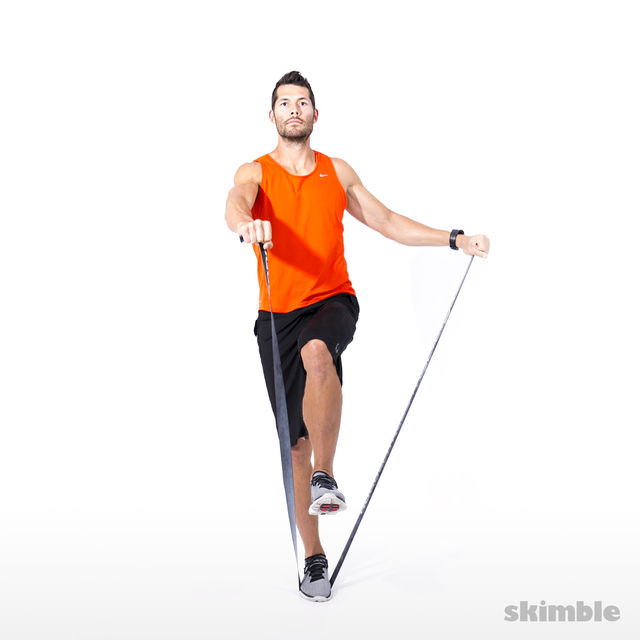 How to do: Right Leg Balance and L-lift with Band - Step 3