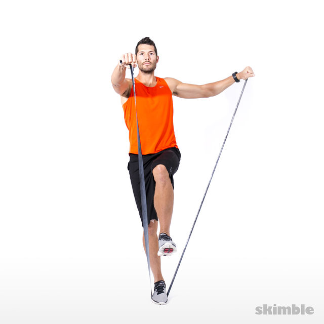 How to do: Right Leg Balance and L-lift with Band - Step 4