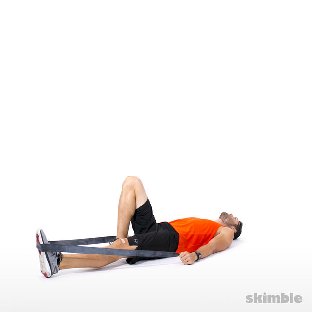 How to do: Left Leg Hip Lift with Band - Step 1