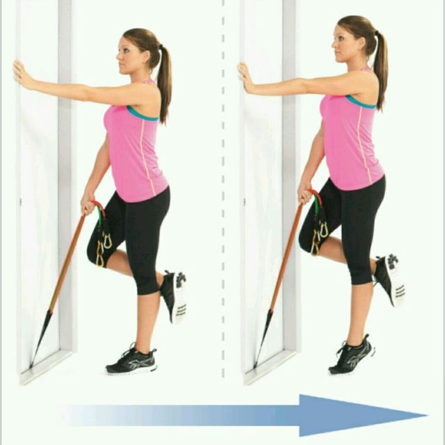 How to do: Standing One Legged Calf Raise With Bands - Step 1