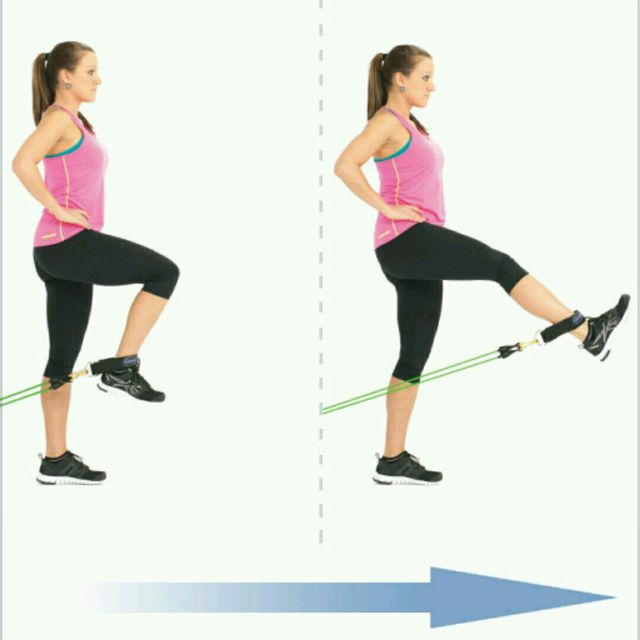 How to do: Standing Leg Extension With Bands - Step 1