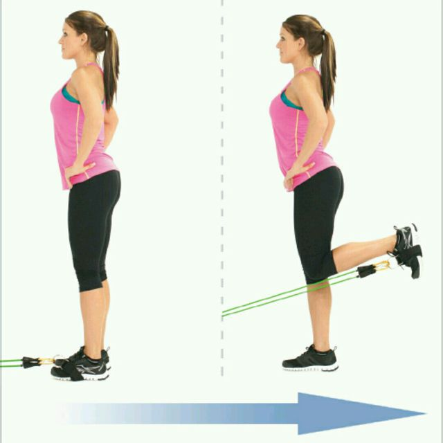 How to do: Standing Hamstrings Curl With Bands - Step 1
