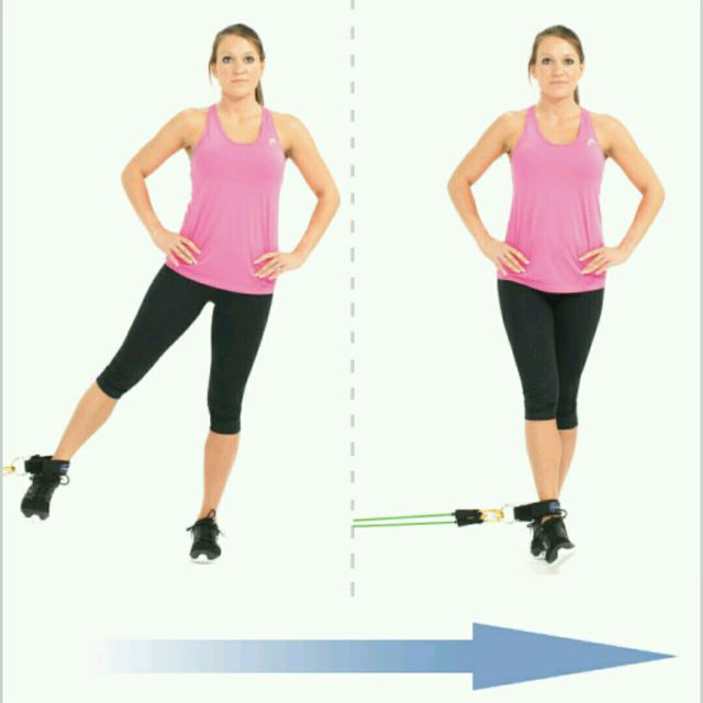 How to do: Standing Leg Adduction With bands - Step 1