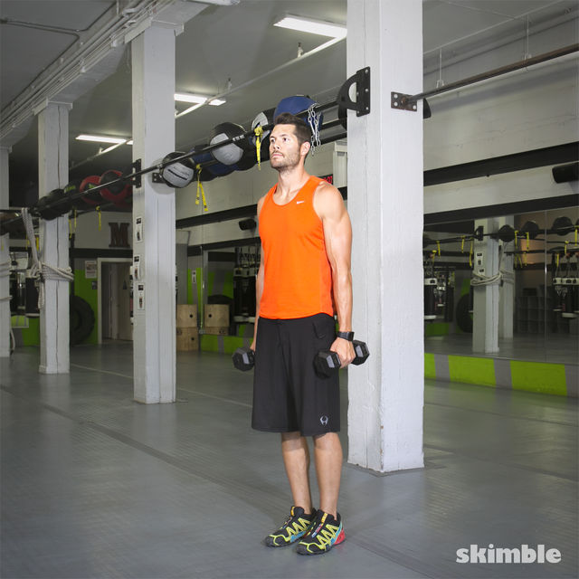 How to do: Lateral Lunge with Shoulder Press - Step 1