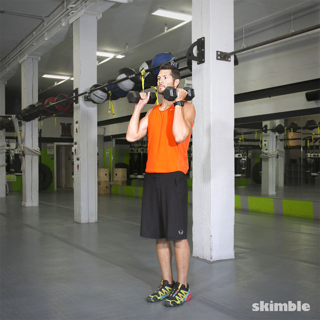 How to do: Lateral Lunge with Shoulder Press - Step 2
