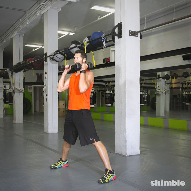 How to do: Lateral Lunge with Shoulder Press - Step 3