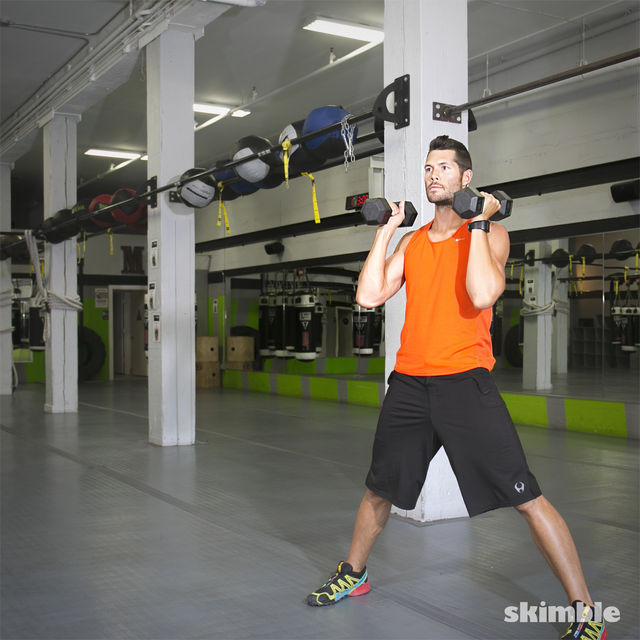 How to do: Lateral Lunge with Shoulder Press - Step 7