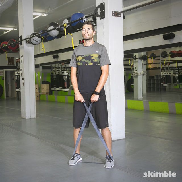 Walking Abductors And Upright Row With Band