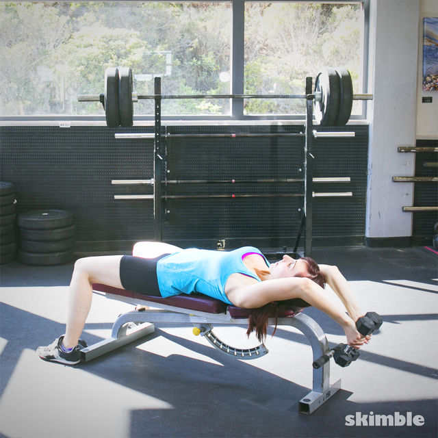 How to do: Lying Dumbbell Tricep Extensions - Step 2