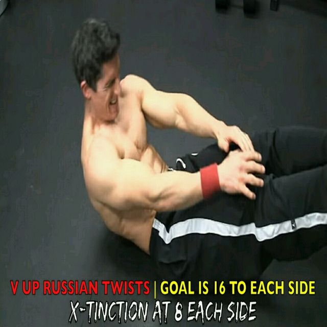 How to do: Abs - V Up Russian Twist - Step 2
