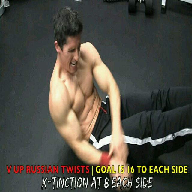 How to do: Abs - V Up Russian Twist - Step 3