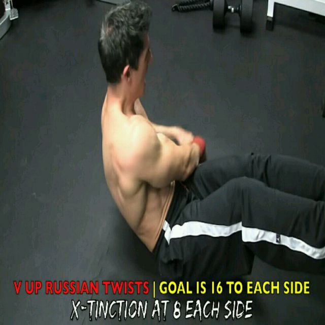 How to do: Abs - V Up Russian Twist - Step 4
