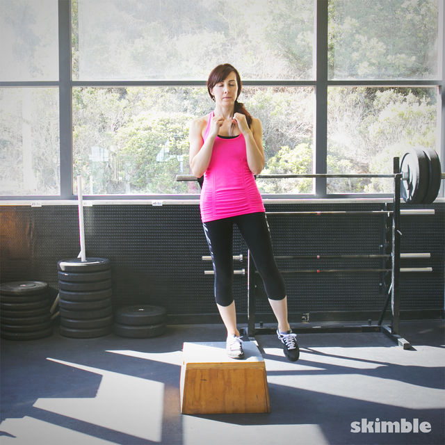 How to do: Lateral Step Ups with Left Leg Raise - Step 3
