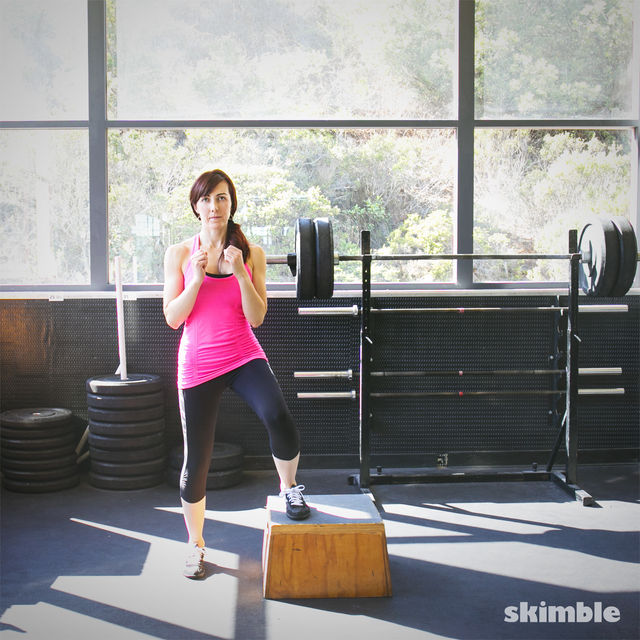 How to do: Lateral Step Ups with Right Leg Raise - Step 2