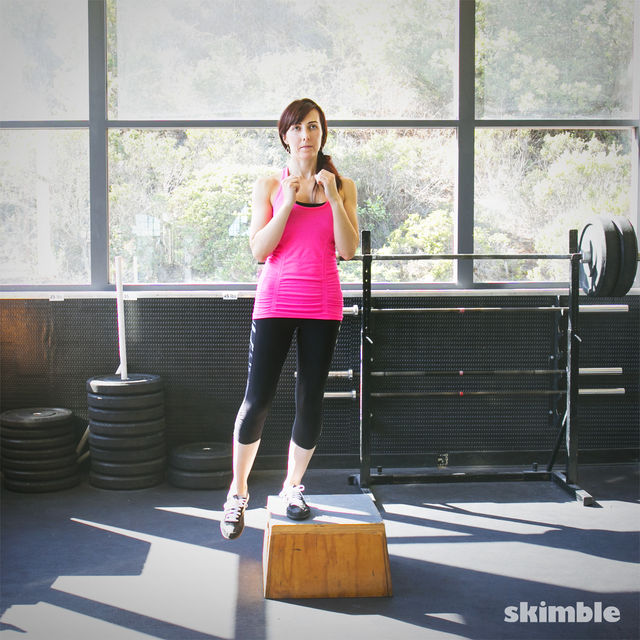 How to do: Lateral Step Ups with Right Leg Raise - Step 3