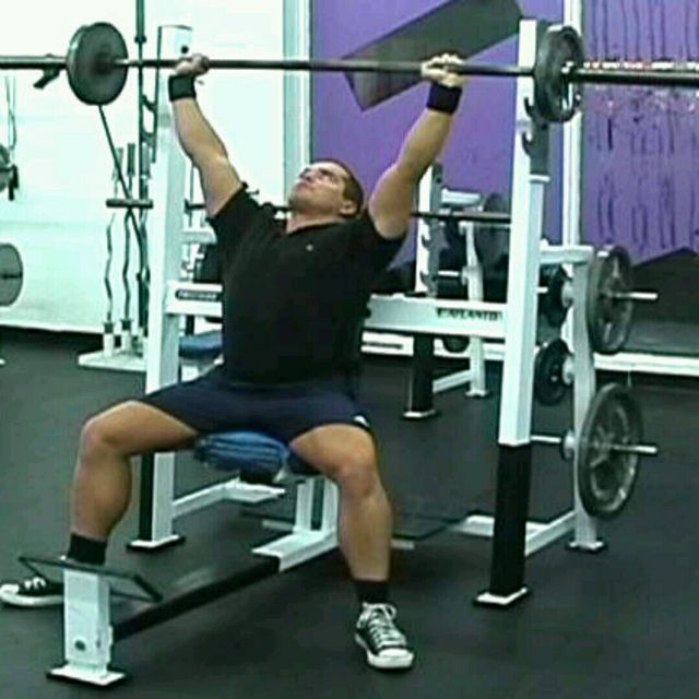How to do: Barbell Seated Overhead Press - Step 1
