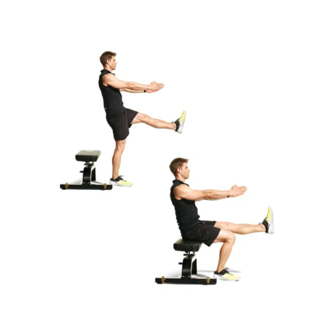 Single Leg Bench Squat Exercise How To Workout Trainer