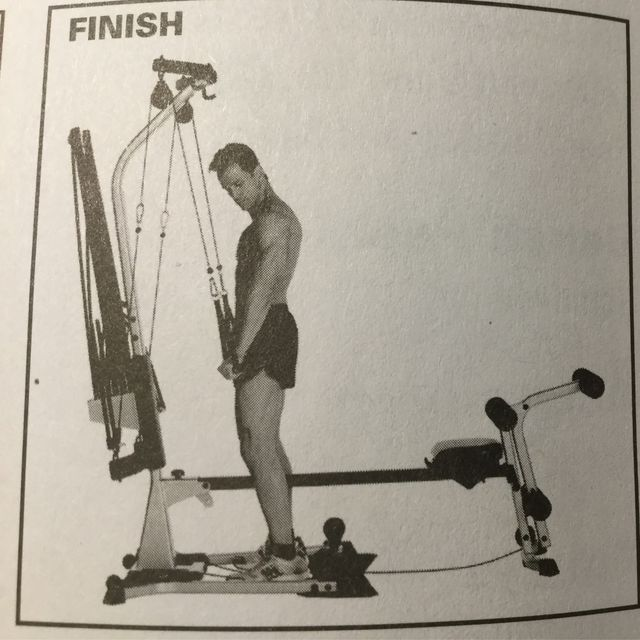 Bowflex Revolution Seated Lat Row: Standing Tricep Extension