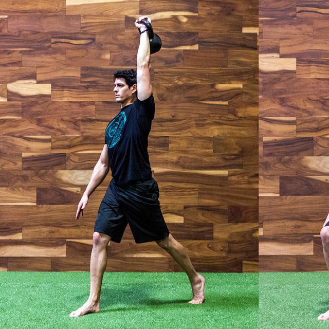 How to do: Barbell Overhead Walking Lunge R - Step 1