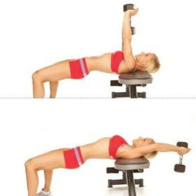 Single Arm Dumbell Bench Press: Bench Dumbbell Pullover