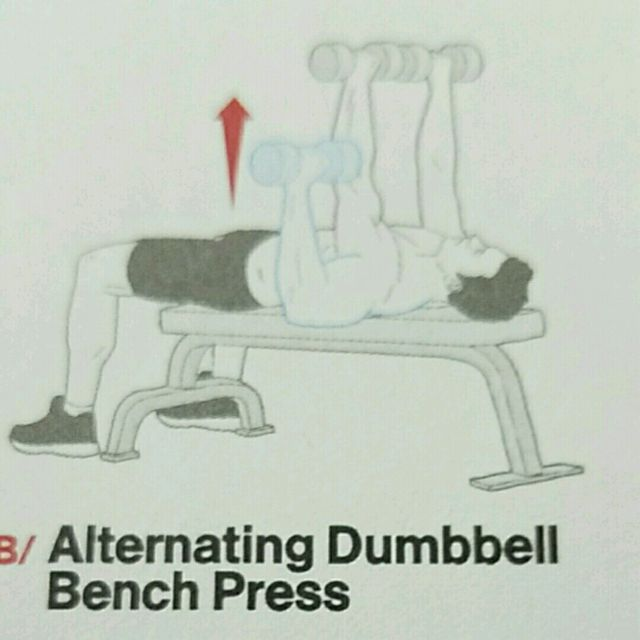 How to do: Alt. Dumbell Bench Press - Step 1