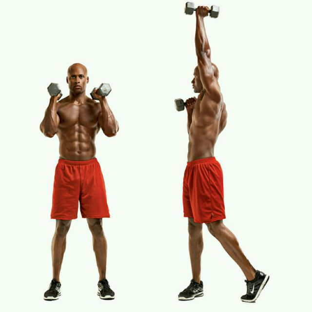 How to do: Alternating shoulder press with Twist - Step 1